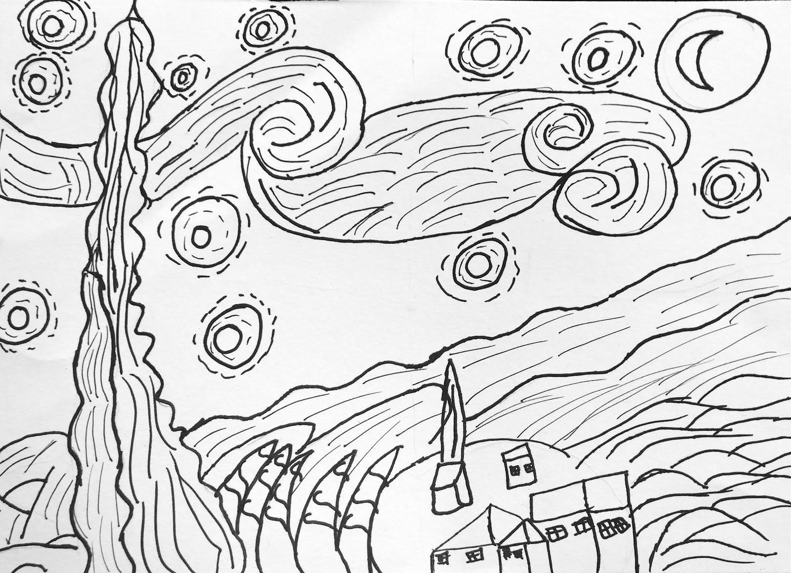 van gogh starry night coloring - Van Gogh Coloring Page