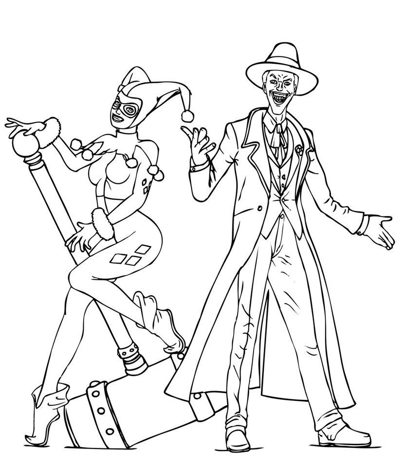 Harley Quinn And Joker Coloring Pages Joker Harley Quinn