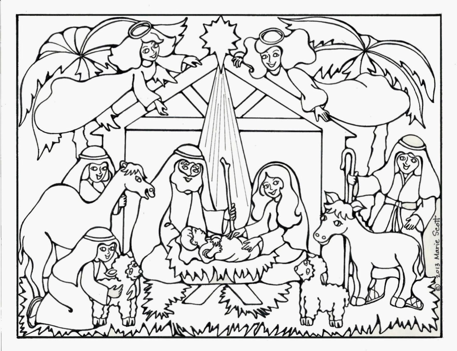 Nativity Christmas Holiday Coloring Pages