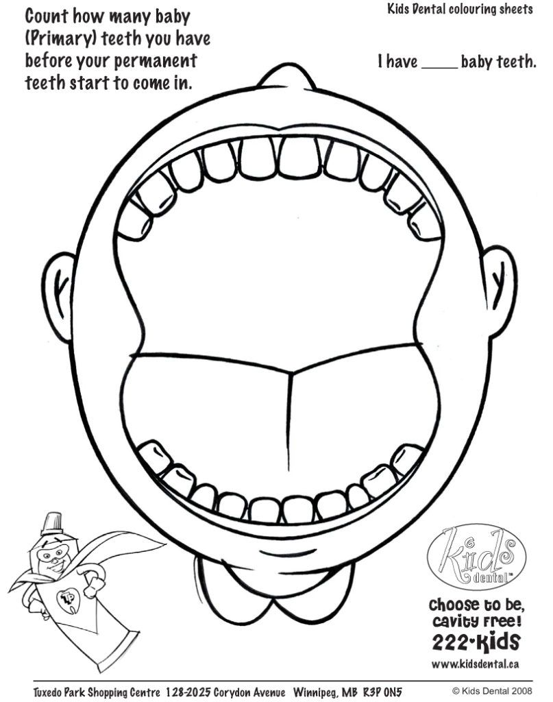 Coloring Pages: Teeth Coloring Page Pediatric Dental ...