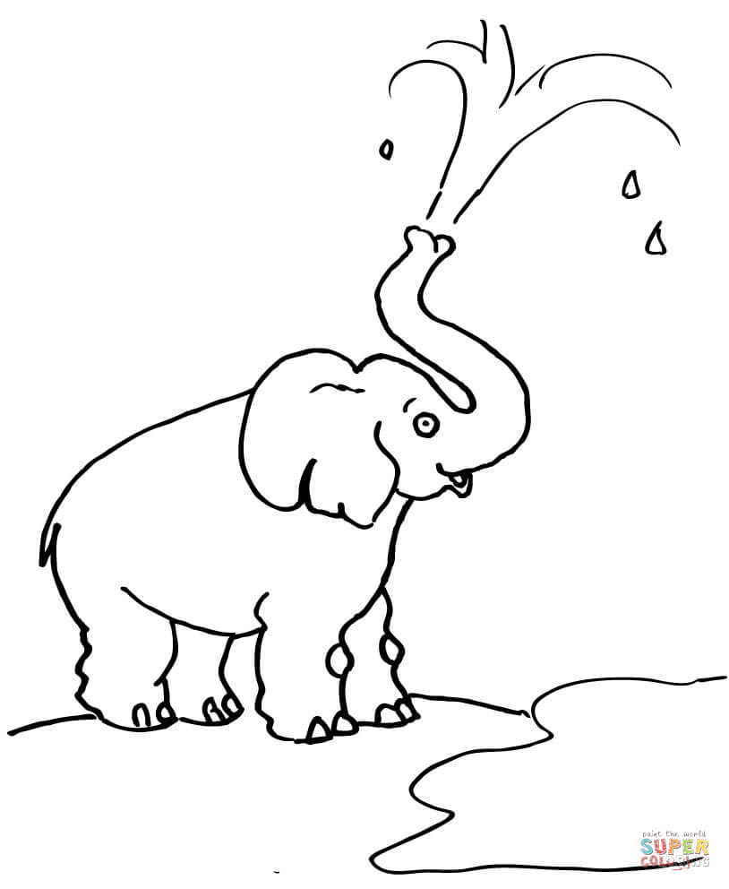 elephant blow water out of his trunk coloring page free