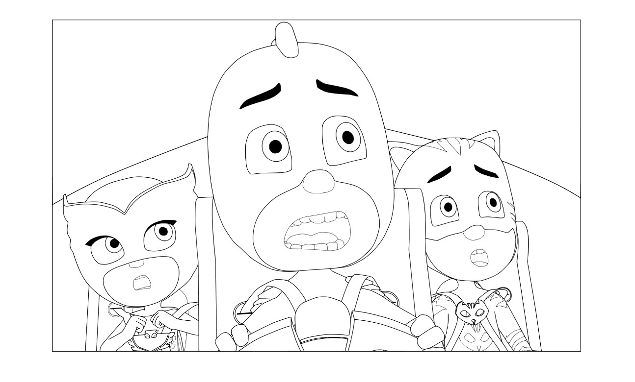 PJ Masks in Cat-Car Coloring Pages