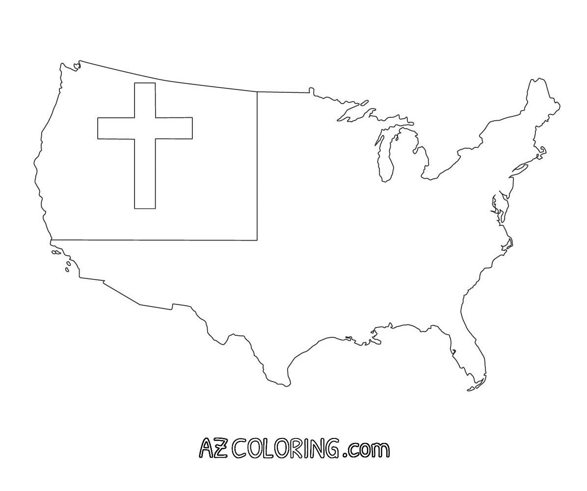 Christian Flag Coloring Page - Coloring Home