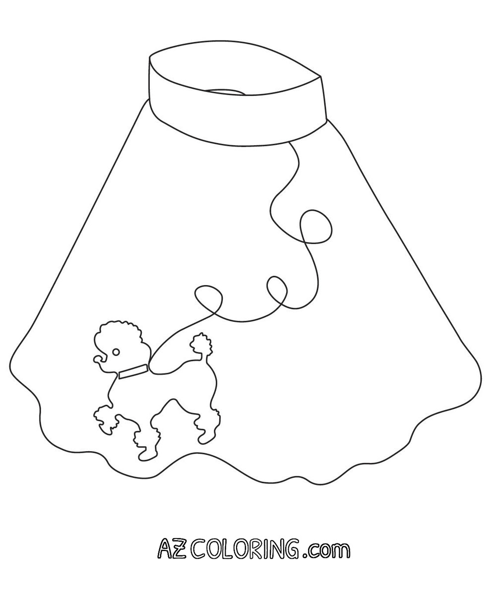 Poodle Skirt Coloring Page - Coloring Home