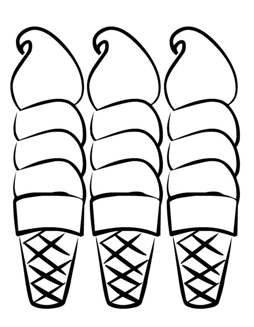 Free coloring pages ice cream sundae - Coloring Ice Cream Cones Three Sweet Ice Cream Coloring Pages