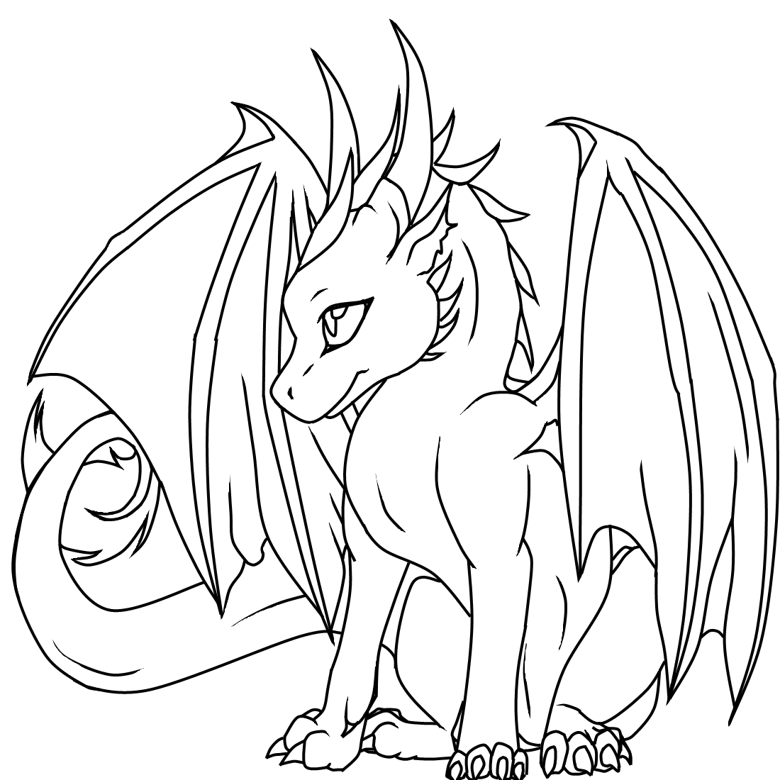 Cool dragon coloring pages for kids and for adults