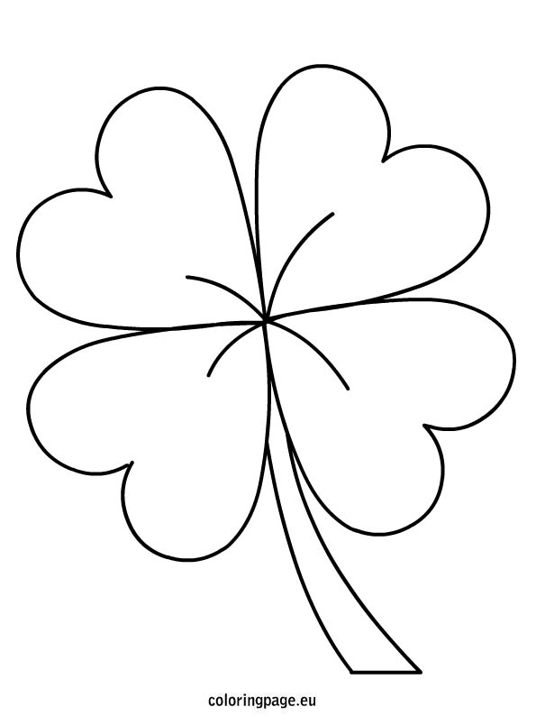 4 Leaf Clover Coloring Page Coloring Home Three Leaf Clover Coloring Page