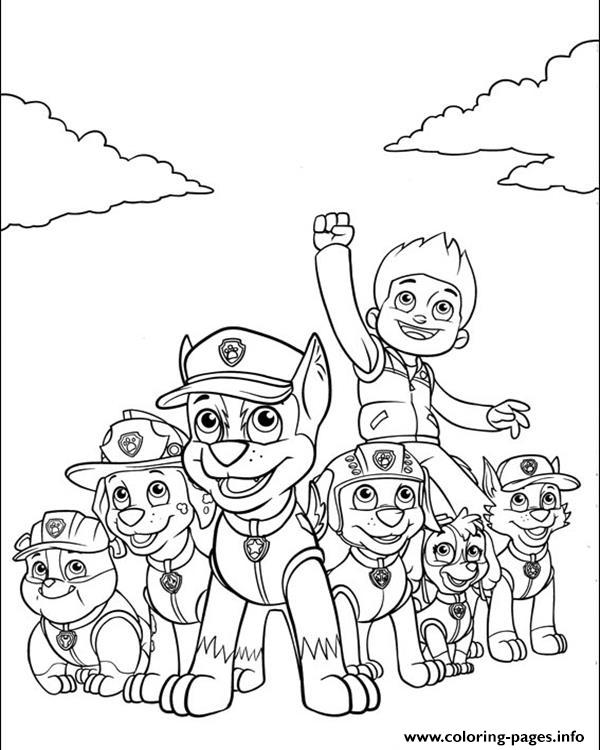 Paw Patrol Ryder And His Powerful Team Coloring Pages Printable