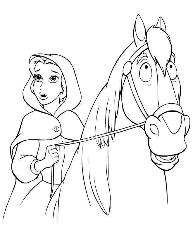 Disney Cartoon Girl On Horse Coloring Pages