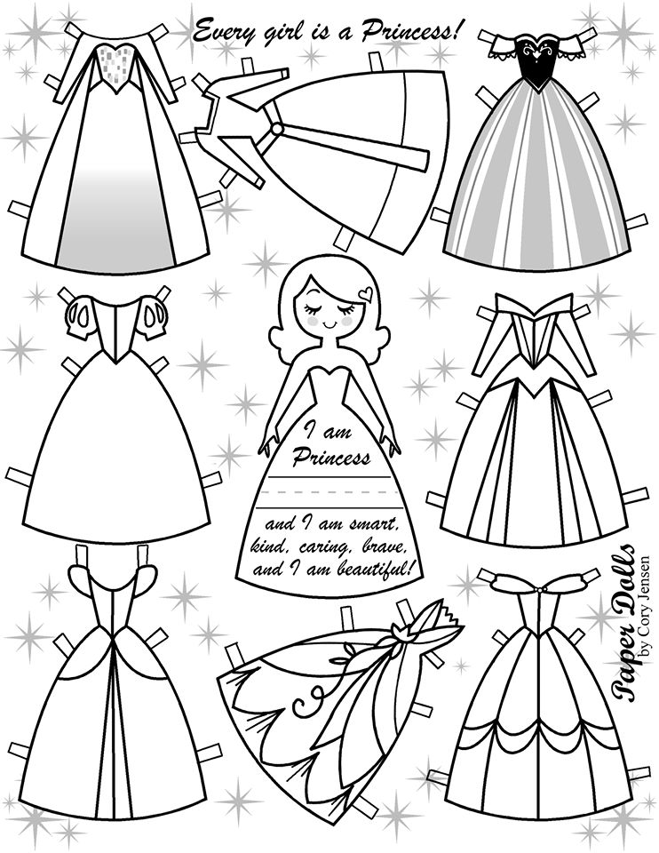 princess paper dolls coloring pages - photo#28