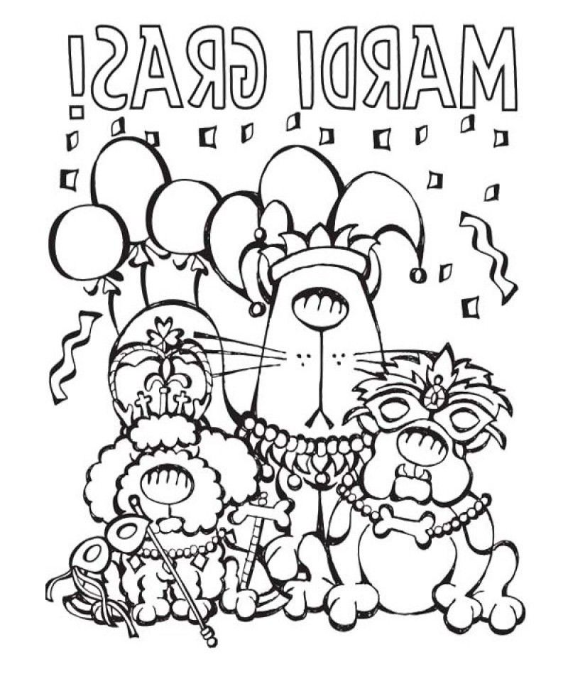 With A Festive Mardi Gras Coloring Page - Kids Colouring Pages