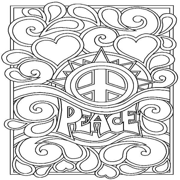 Free Printable Peace Sign Coloring Pages | 597x600
