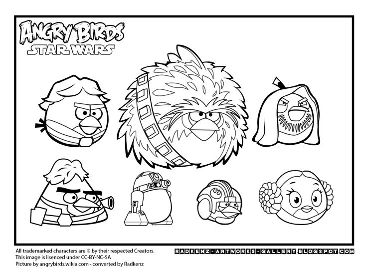 Angry Birds Star Wars - Free printable Coloring pages for kids | 551x736