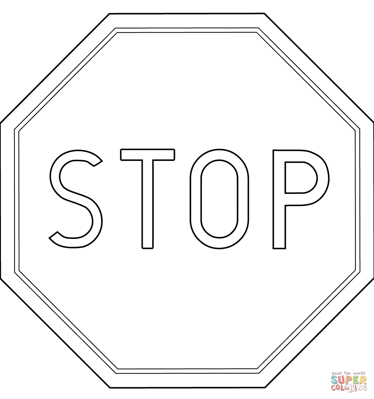 Printable Stop Sign Coloring Page Coloring Home