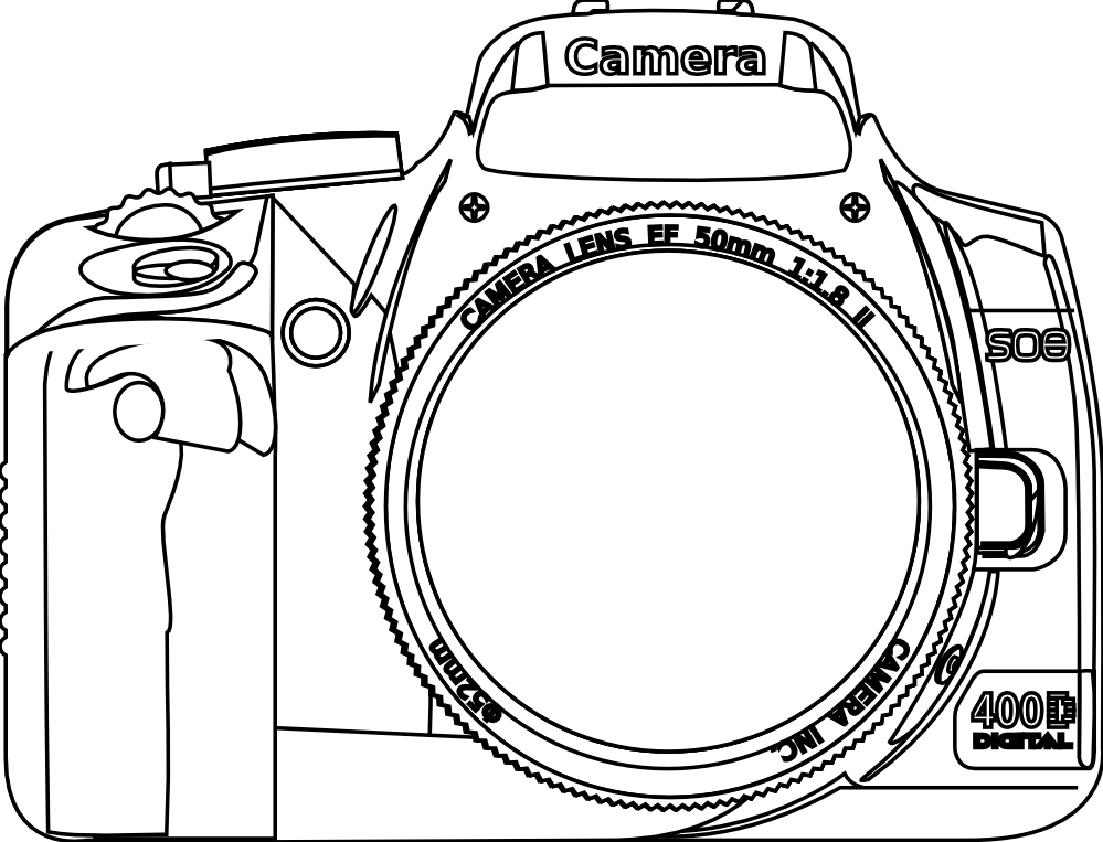 Line Art Using Photo : Camera coloring page home
