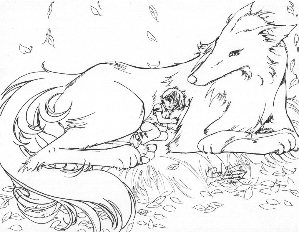 Coloring Pages Of Anime Wolves Coloring Home