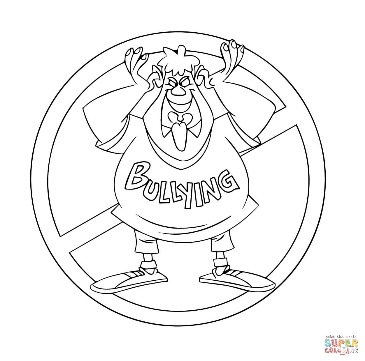 No to Bullying Troll coloring page | Free Printable Coloring Pages