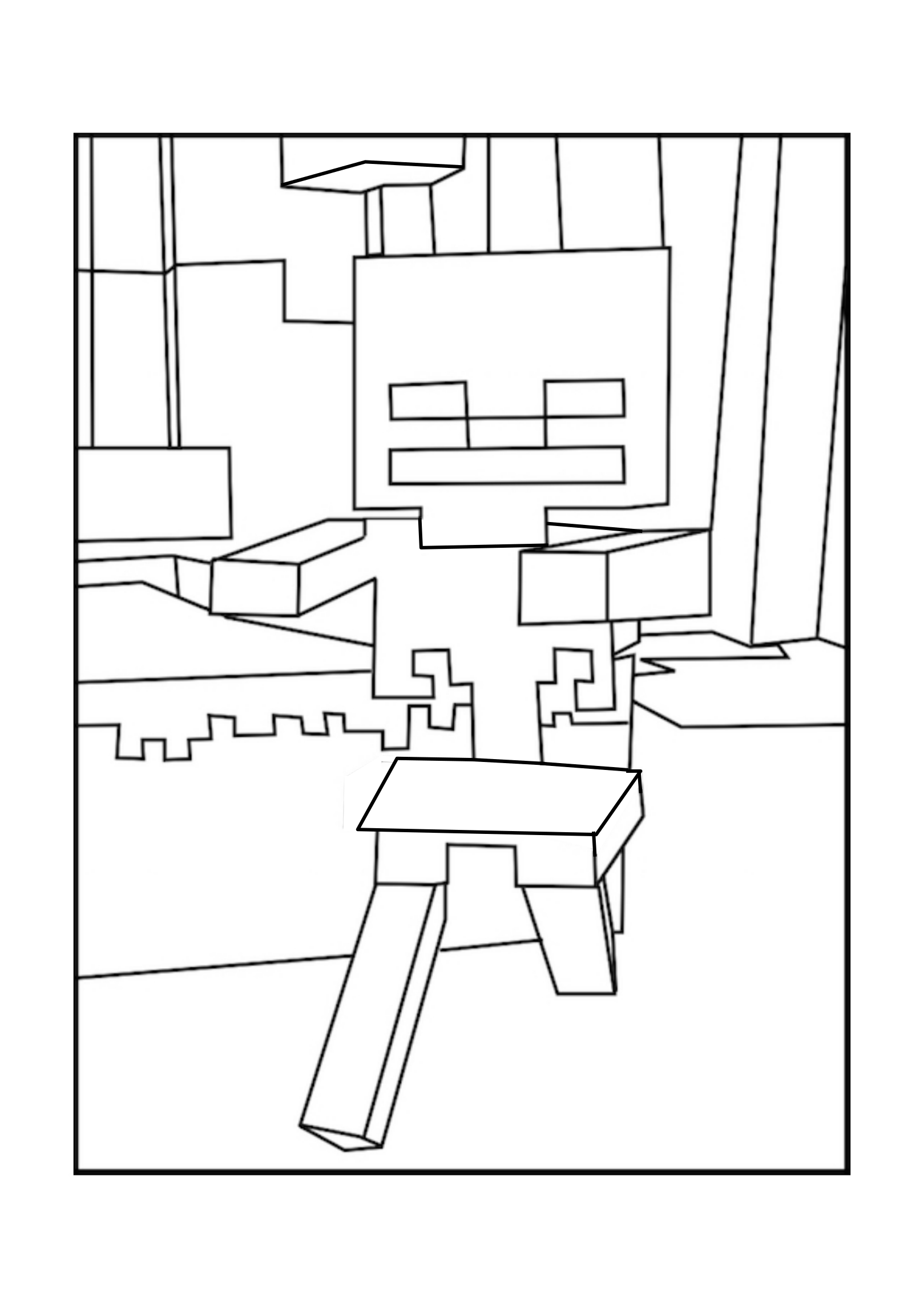 This is a graphic of Insane minecraft skeleton coloring pages