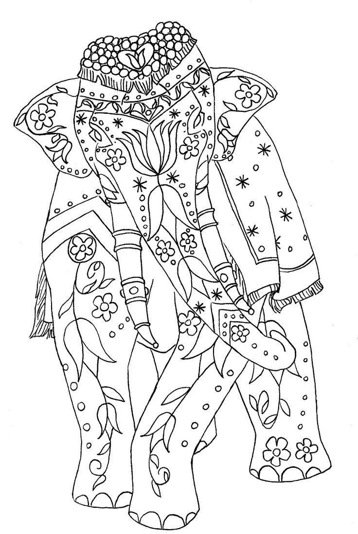 Indian elephant coloring pages for adults 73 elephant coloring