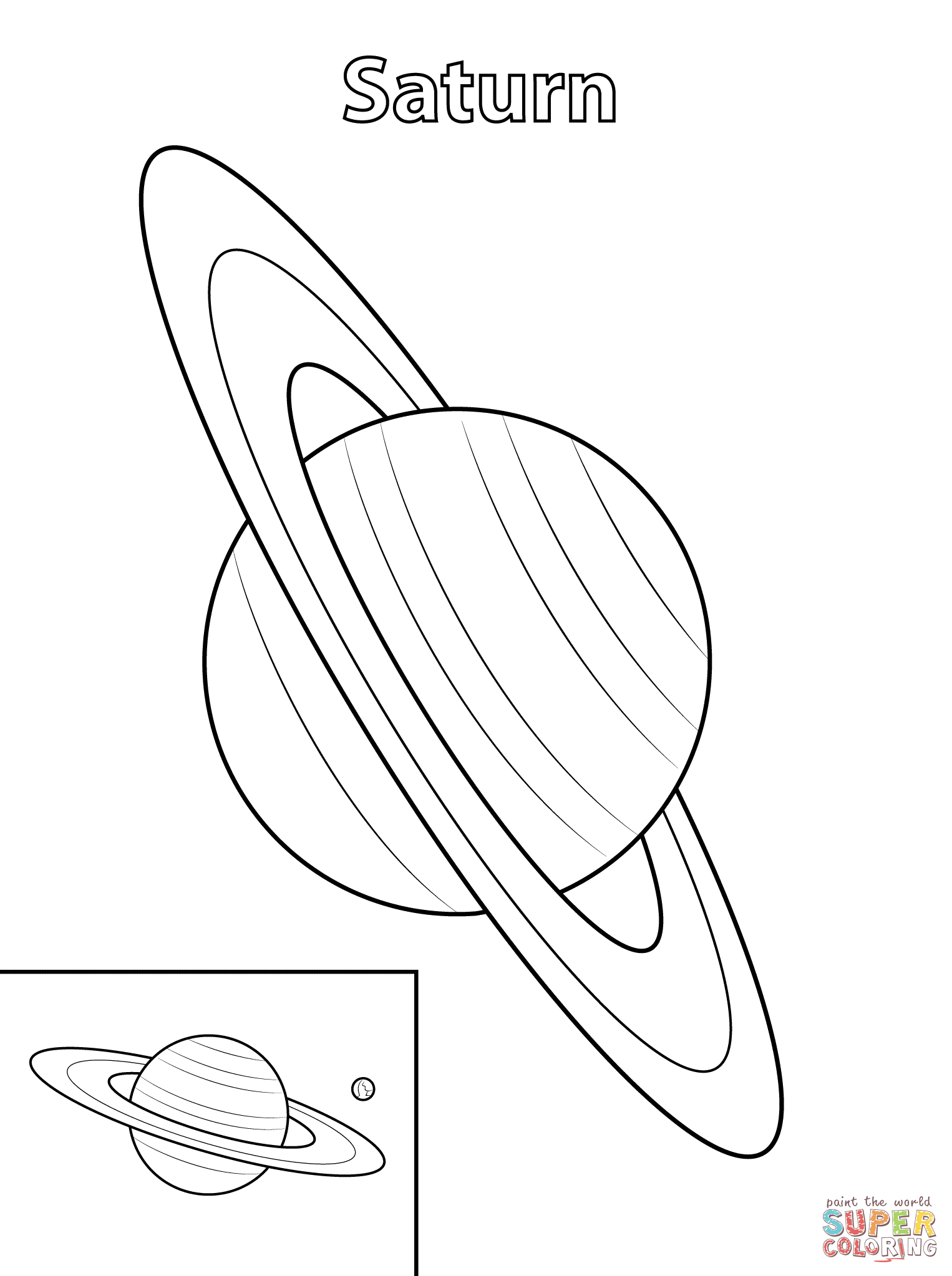 saturn planet coloring page free printable coloring pages - Planets Coloring Pages