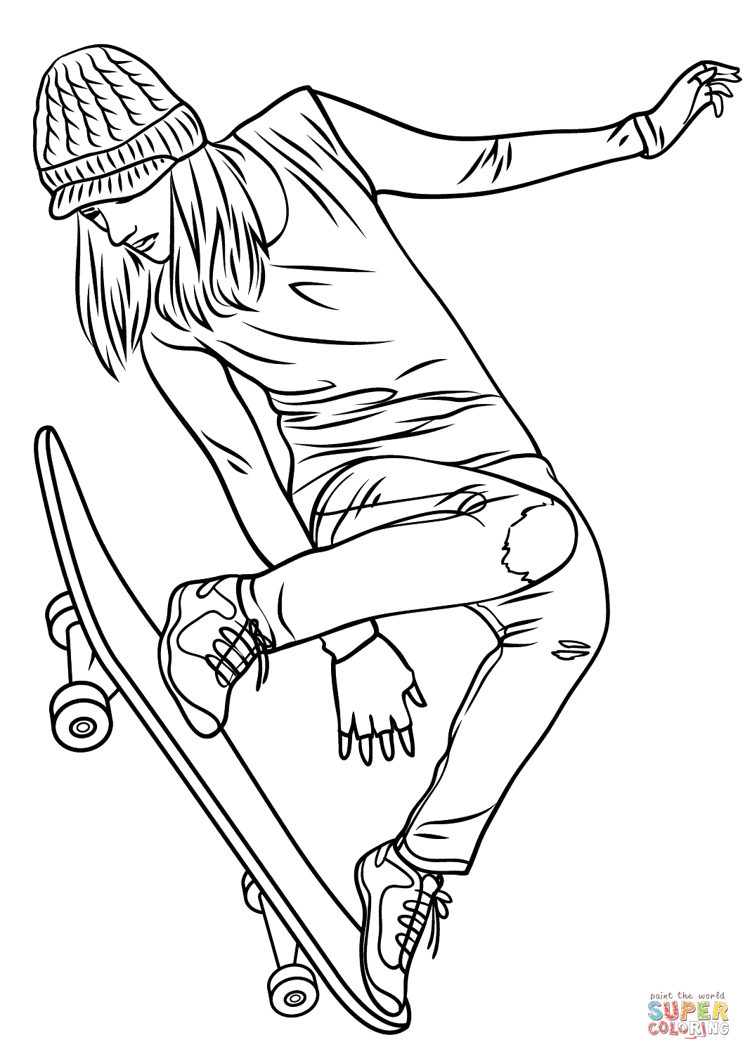 Girl Skateboarding Coloring Page | Free Printable Coloring Pages ...