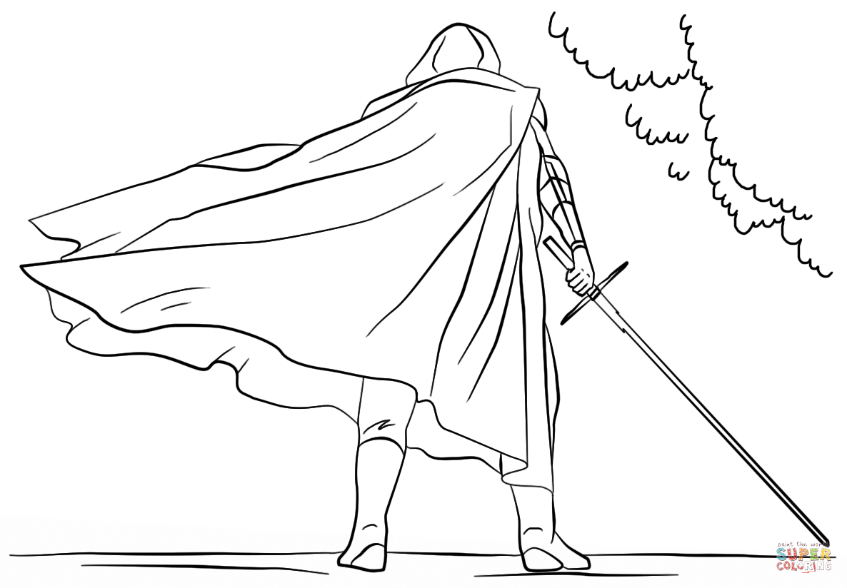 Kylo Ren with Lightsaber coloring page | Free Printable Coloring Pages