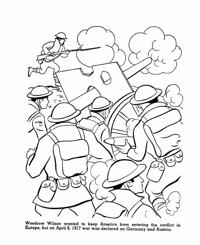 America enters WWI Coloring Page | World War I Educational ...