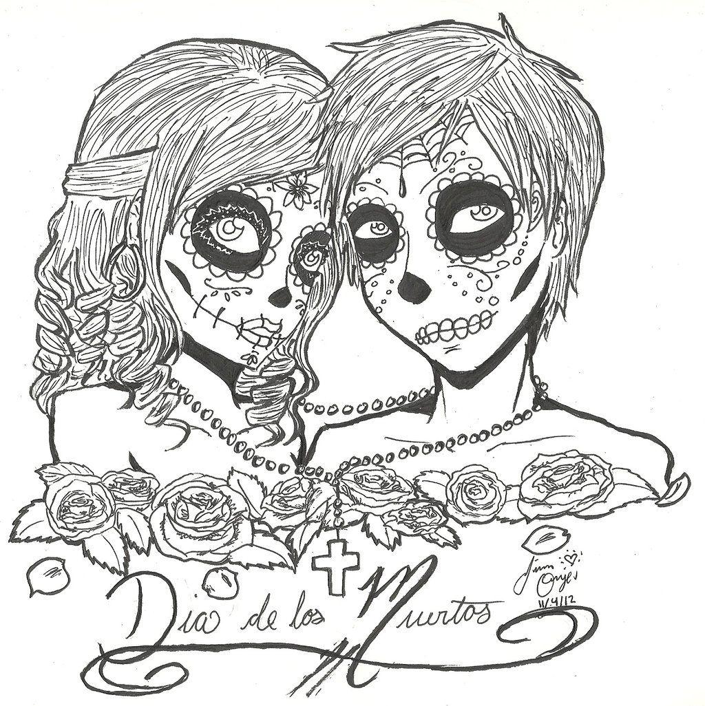Cute dia de los muertos coloring pages