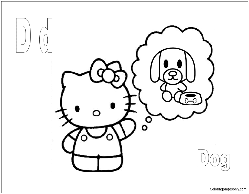 Hello Kitty with the letter D is for Dog Coloring Page - Free Coloring Pages  Online