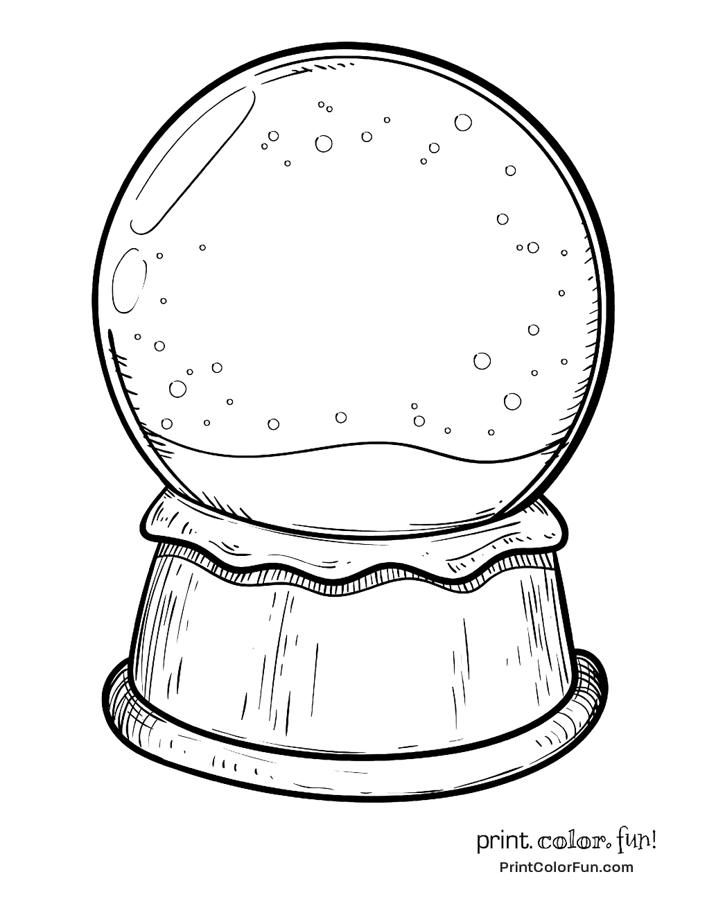 Blank snow globe coloring page - Print. Color. Fun!