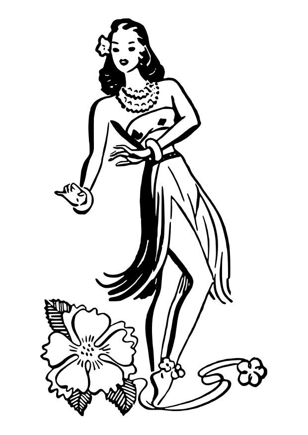 Free coloring pages of hula dancer for Hula girl coloring page