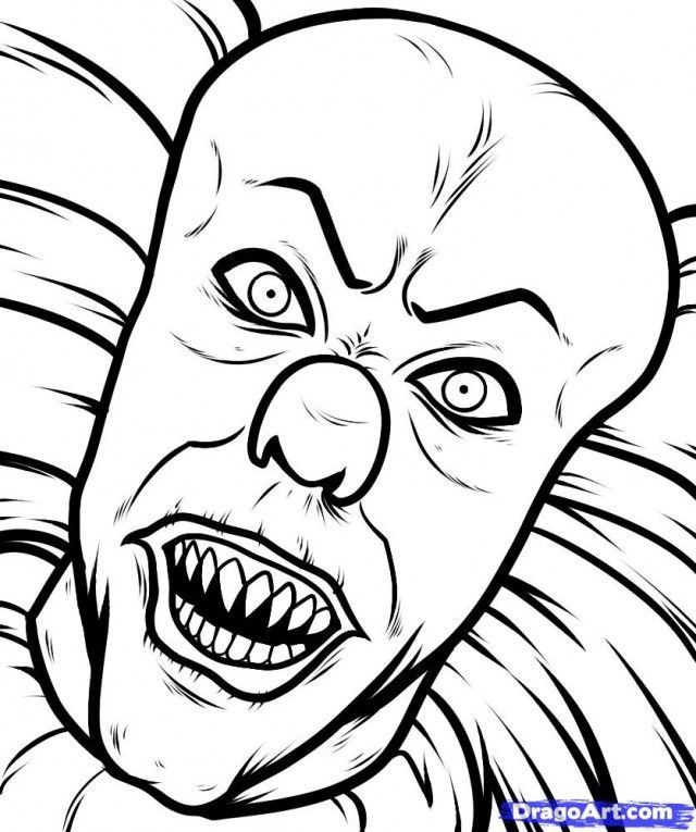 Scary clown coloring pages coloring home Horror coloring book for adults