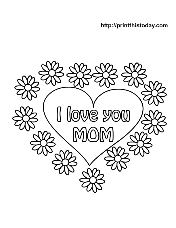 Happy Birthday Mom Heart Colouring Pages I Love You Coloring