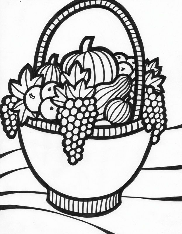 fruit baskets coloring pages | Fruit Basket Coloring Page - Coloring Home