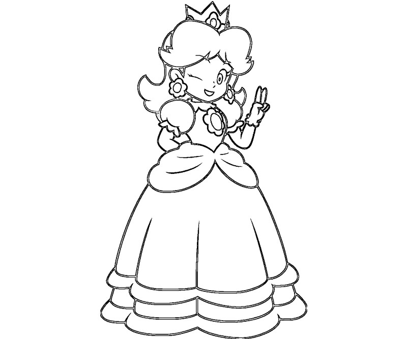 Mario daisy tenis free coloring pages for Daisy coloring page