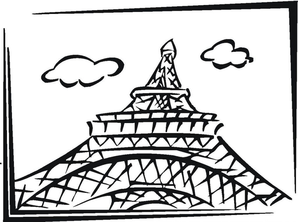 Eiffel Tower Coloring Page Coloring Home