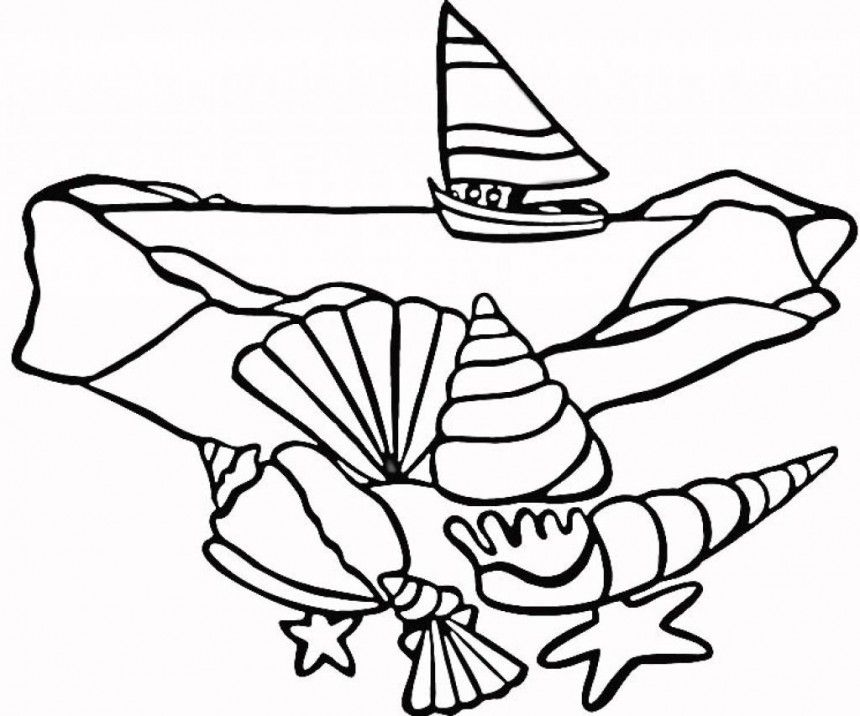 Seashell Coloring Pages Printable  Coloring Home