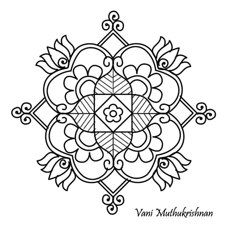 Kolam coloring pages for Pongal coloring pages