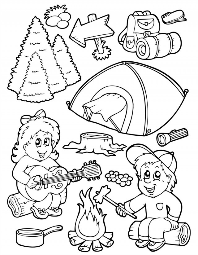 Preschool Camping Coloring Pages Az Coloring Pages