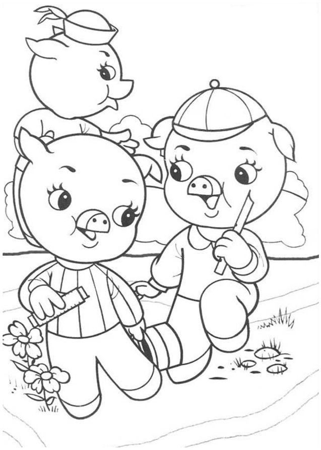 Three little pig coloring pages coloring home for 3 little pigs coloring pages