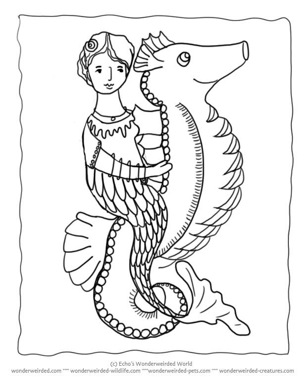 Mermaid on Seahorse Coloring Pages, Cartoon Seahorse Pictures to Color