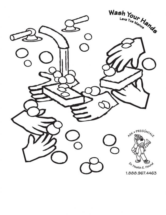 coloring pages hand washing - photo#6