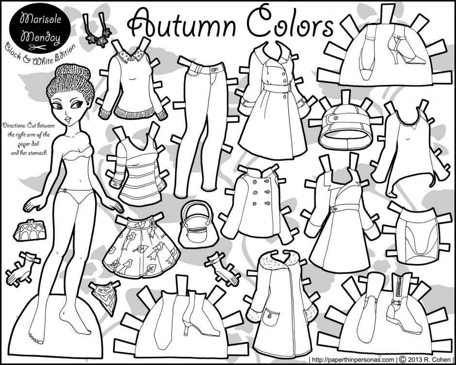 Paper Doll Coloring Page - Coloring Home