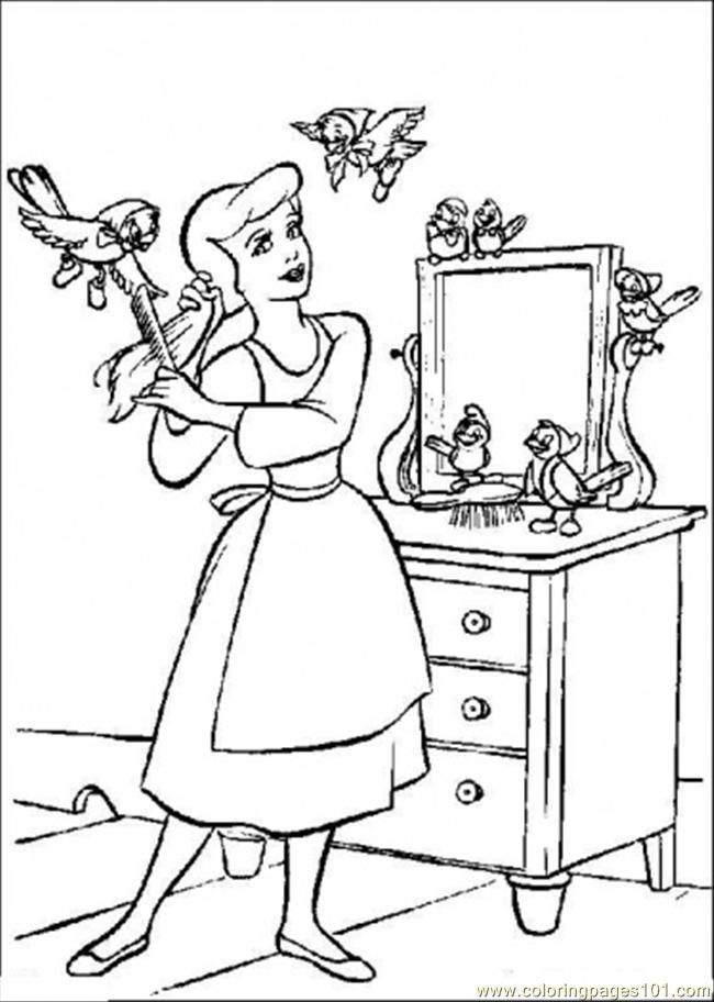 Coloring Pages Cinderella Combs Her Hair (Cartoons > Cinderella