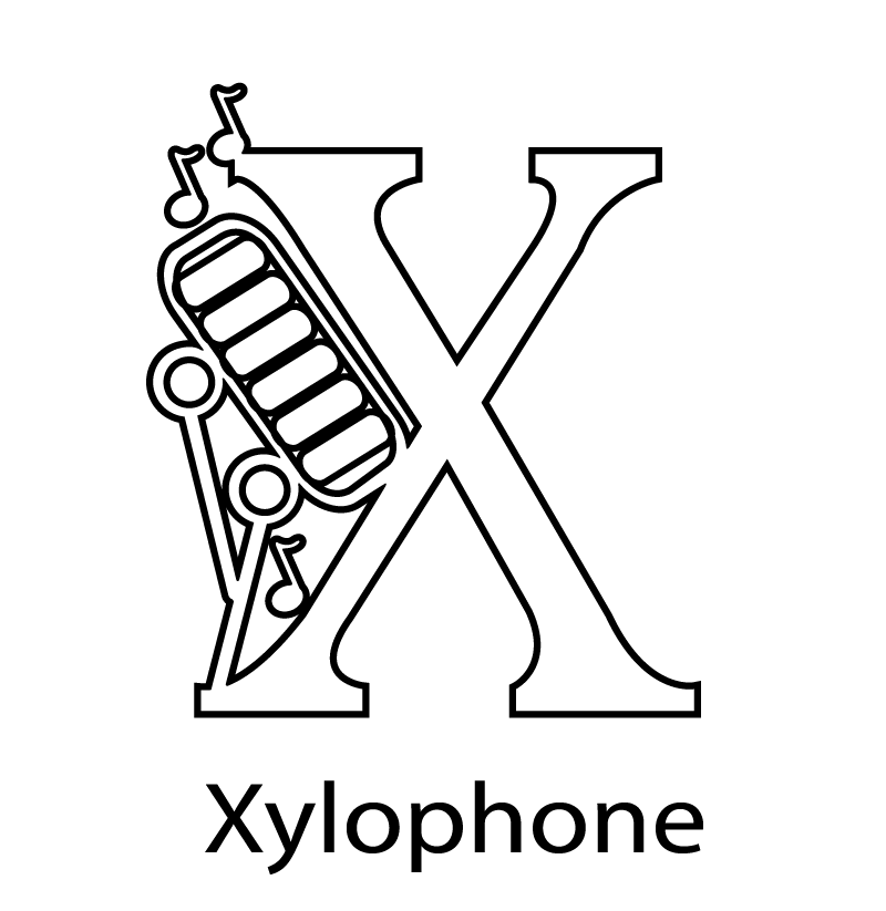 Download X For Xylophone Alphabet Coloring Pages Or Print X For