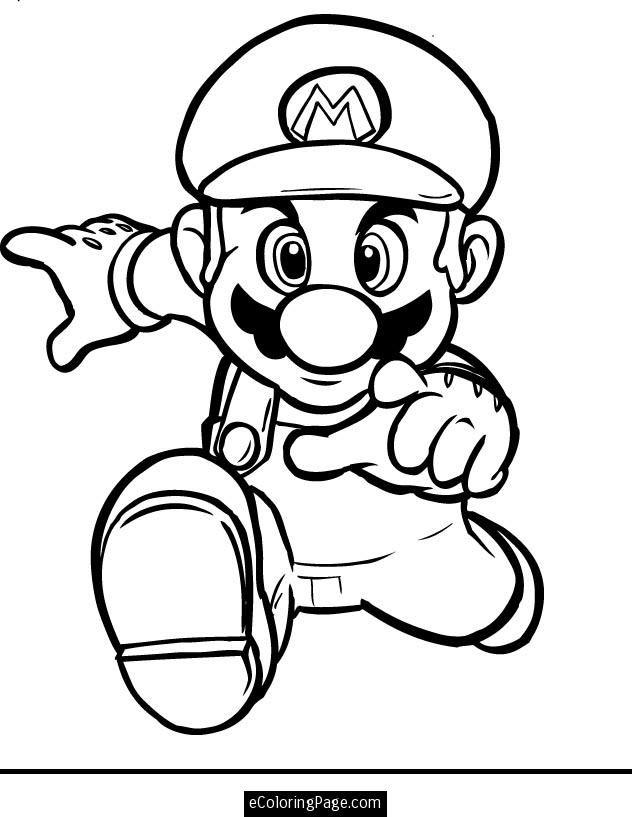 Mario Bros Running Coloring Page Printable Ecoloringpage Com