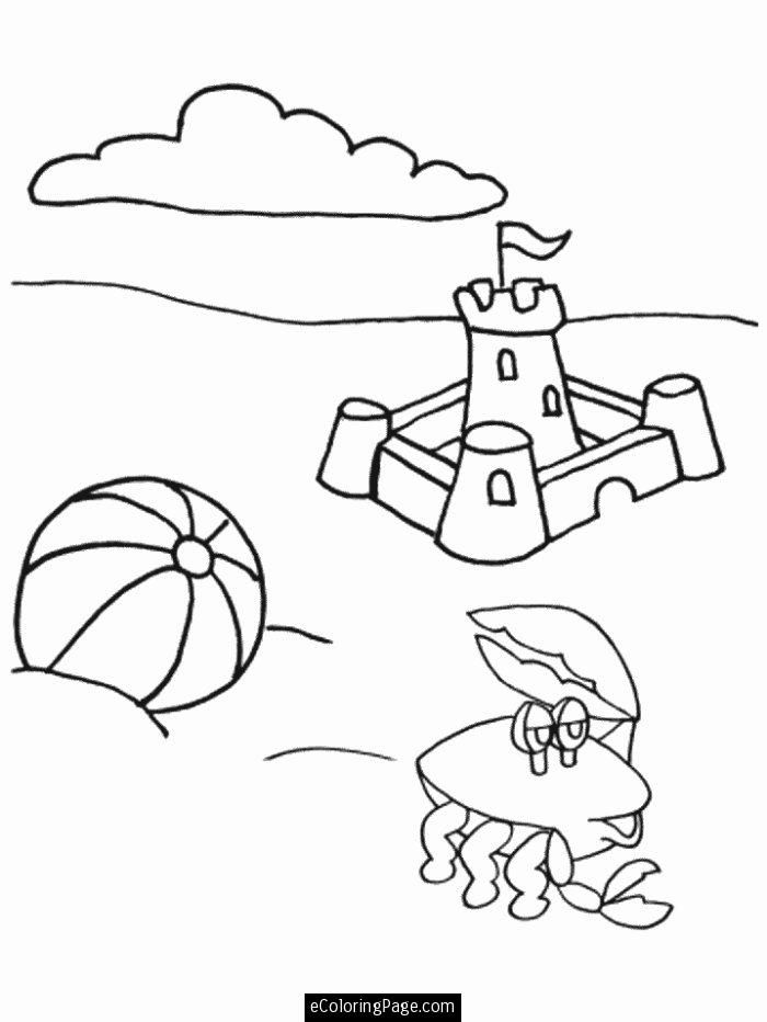 summertime sandcastle crab and beach ball printable coloring page