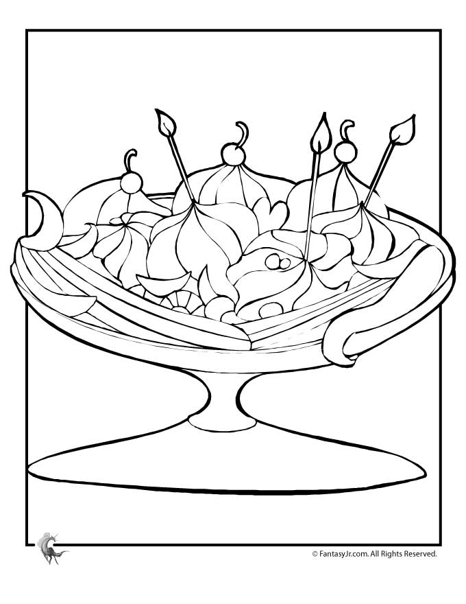 Banana Split Coloring Page - Coloring Home