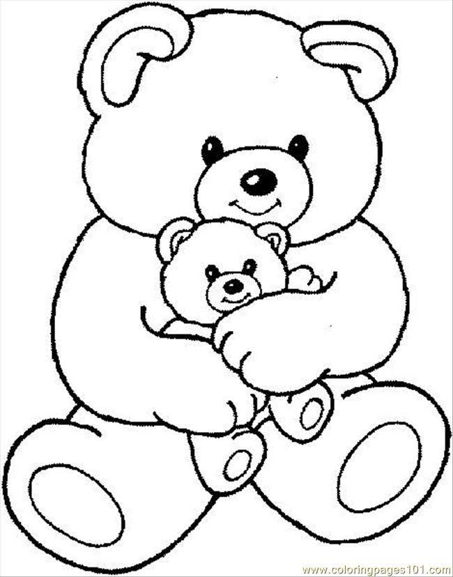 Free Printable Coloring Page Teddybear1 Cartoons Little Polar Bear ...