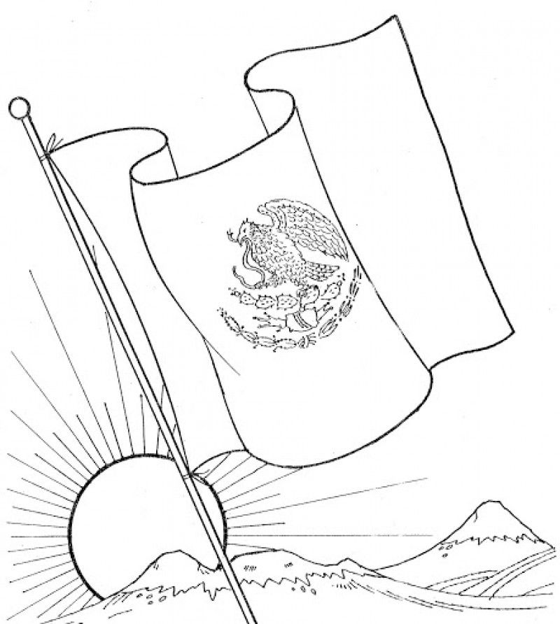 Mexican Flag Color Page Coloring Home Coloring Pages Of Mexico